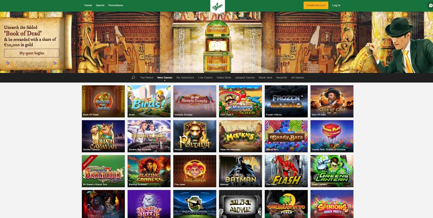 mr green casino games and slots